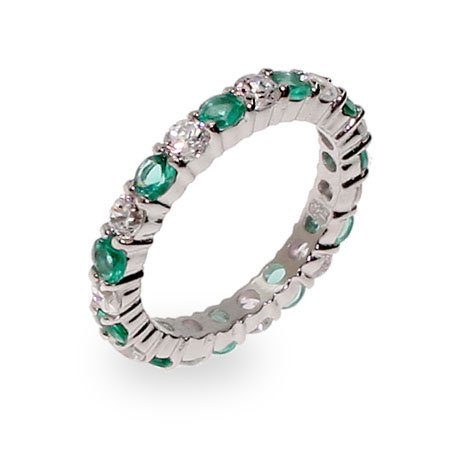Elena's Emerald and Clear CZ Silver Eternity Ring Size 9 (Sizes 5 6 7 8 9 Available)