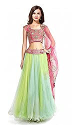 Styles Closet New Designer Green And Pink Lehenga Choli