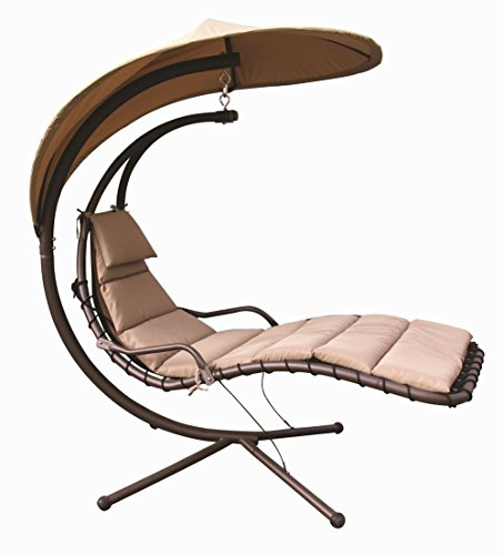 Naturefun Hanging Chaise Lounger Chair with Arc Stand Air Porch Swing Hammock Chair with Adjustable Canopy, Beige