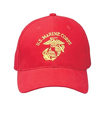 Red US MARINE CORPS Adjustable Cap w/Globe and Anchor Emblem