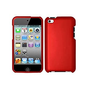 SODIAL(TM) Premium Rubberized Snap-on Hard Crystal Front and Rear Case Cover for Apple iPod Touch 4G, 4th Generation, 4th Gen - red compatible with 8GB / 32GB / 64GB