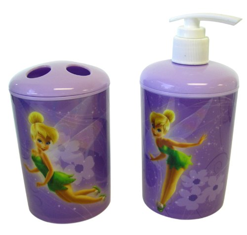 Disney Fairies 2pc Toothbrush Holder and Soap Dispenser Tinkerbell Bath Set - Tinkerbell Toothbrush Holder -Tinkerbell Soap Pump