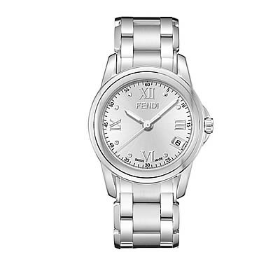 Fendi Loop Large Round Silver Dial and Bracelet Quartz Watch - F235160