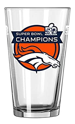 NFL Denver Broncos Super Bowl 50 Champs Satin Etch Pint Glass, 16-ounce