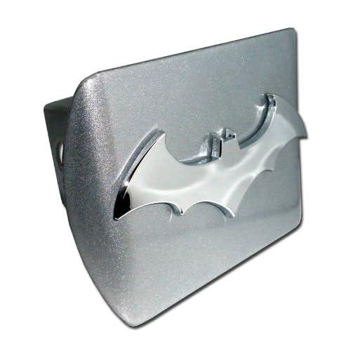 Batman Brushed Silver and Chrome 3D Bat Emblem Metal Trailer Hitch Cover Fits 2 Inch Auto Car Truck Receiver