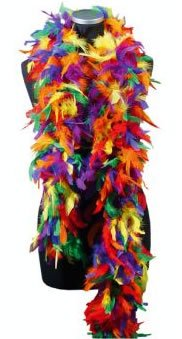 Feather Boa, Rainbow (Costume Accessories) Female One Size - Rainbow