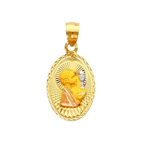 14K 3 Tri-color Gold Dia-Cut Religious communion Stamp Charm Pendant