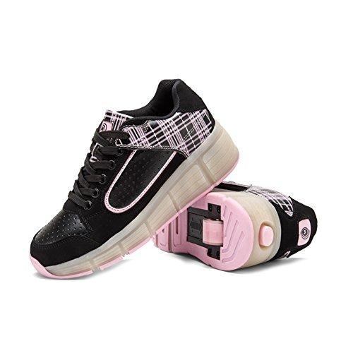 [ Kind Heelys ] iisport® Unisex Heelys sommer Atmungsaktives Roller Skate Schuhe Mit räder Mädchen Jungen Licht wheelys Kinder schuhe Heelys Pink 38