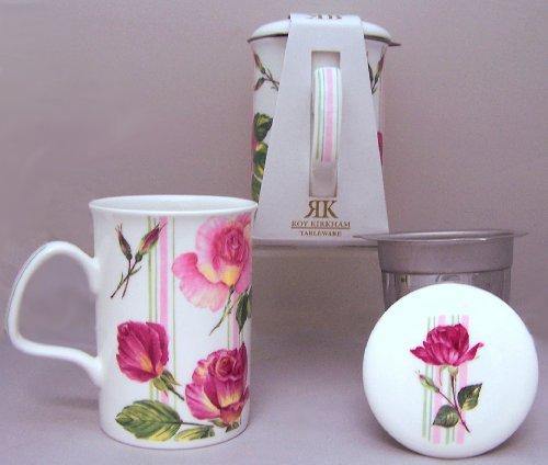 Roy Kirkham Rose Du Temps Infuser Mug & Lid-Stripe
