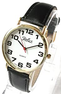Reflex Mens/Gents Watch-Large/Jumbo Easy Read Bold Dial - Partially Sighted-21cm Strap (1219GT)