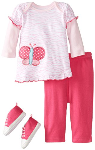 Bon Bebe Baby-Girls Newborn Butterfly Bodysuit Pant And Soft Sneaker Set, Multi, 6-9 Months front-1013728