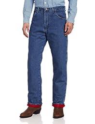 Wrangler Rugged Wear Men\'s Woodland Thermal Jean ,Stonewashed Denim,30x32