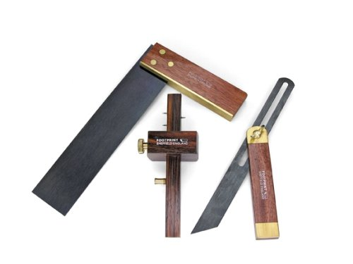 Footprint 303FSK Measuring & Marking Rosewood and Brass Set -Includes 1877 Mortice/Marking Guage, 1248 Square and 1253 Carpenter's Bevel