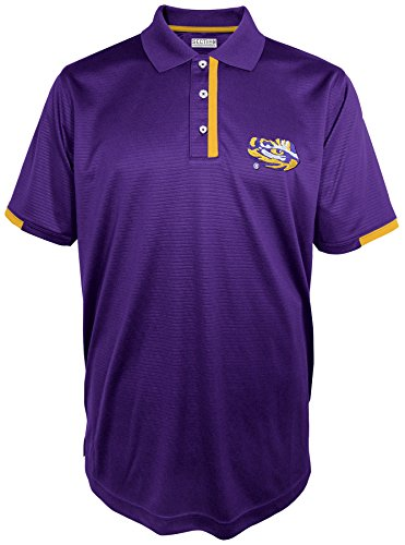 NCAA LSU Tigers Men's First Down Short Sleeve Polo Shirt,