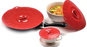 Silicone Suction Lids 3 Piece Set, Heat Resistant Microwave Oven Safe