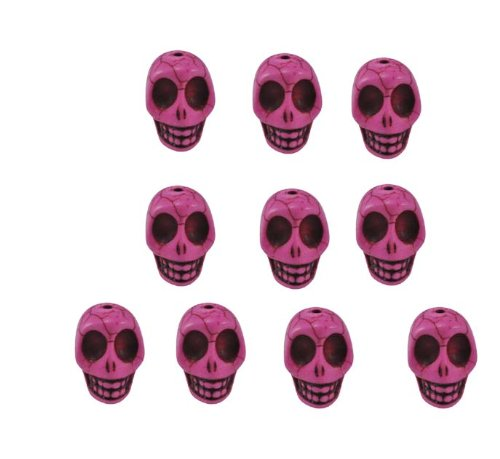 Pink Magnesite Dyed Gemstone Beads Carved Skull Beads, 14 X 10mm (10 Per Set)