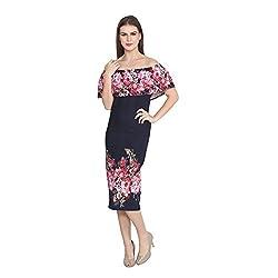 Cj15 Black Cotton Lycra Sleeveless Tube Dresses For Women's