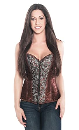Dark Lure - Front Zip Up Steel Boned Brocade Embroidered Corset Top - M