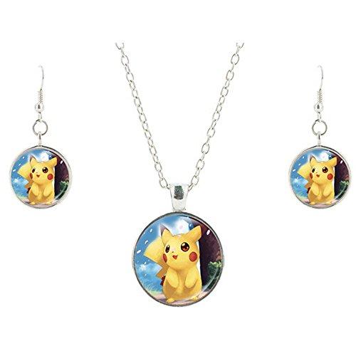 JOJO e Lin 2016nuovo Pokemon ispirato Anime Characters collana e orecchini set Pokeball Cute Pikachu