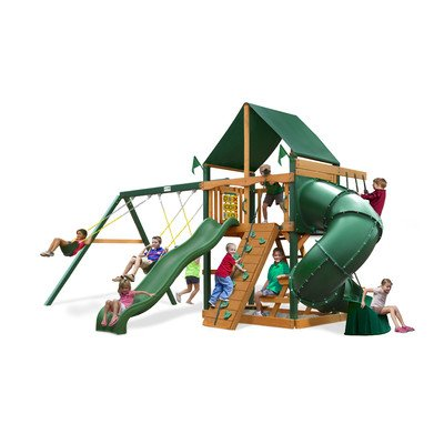 Mountaineer Swing Set with Sunbrella Canvas Forest Green Canopy