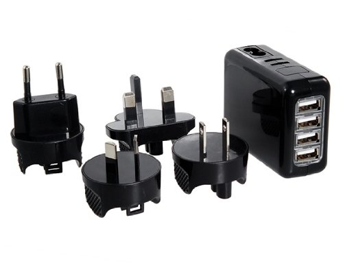Best Brand 5V 2.1A 4 X Usb Port Wall Travel Charger With Us, Uk, Au, Eu Plugs (Black) front-459158