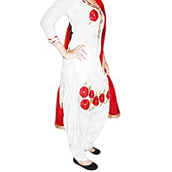 Reet Glamour Women 's Cotton Unstitched White Punjabi Suit