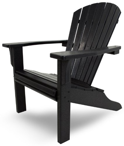 POLYWOOD SH22BL Seashell Adirondack, Black photo