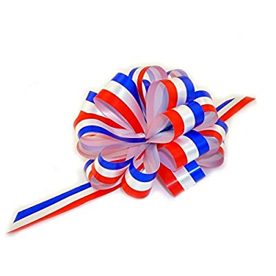 "Red, White, and Blue Pull Bows - 6"" Wide, Set of 6, Patriotic Decorations"