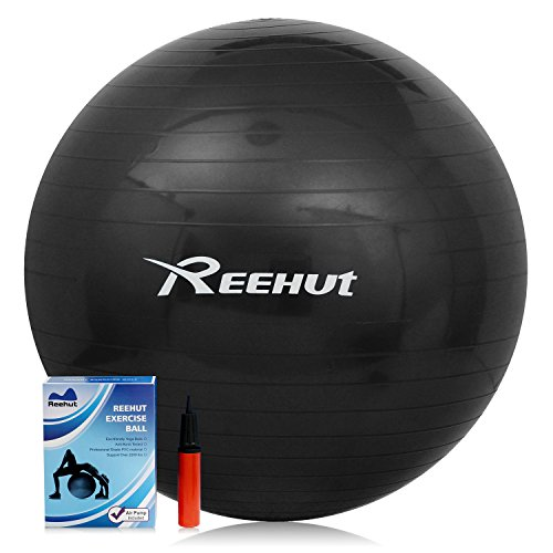 Reehut Anti-Burst Core Exercise Ball for Yoga, Balance, Workout, Fitness w/ Pump (Black, 55CM)