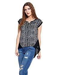 Black High Low Printed Top S