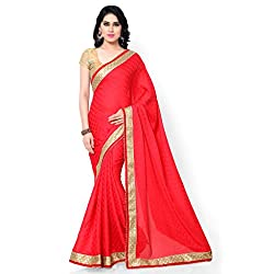 Sarvagny Clothings Red Jacquard Fashion Saree (RED-LATKAN)