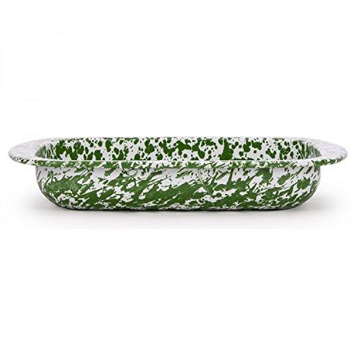 Roasting Pan Cookware Casserole Dish Baking Pan Green Enamelware 12