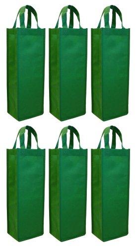 Reusable Gift Bag, Single Bottle Wine Tote 6-Pack Set (Green)