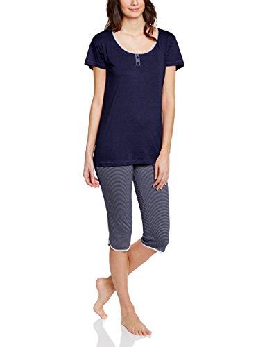 ESPRIT Damen Zweiteiliger Schlafanzug CANDICE CASNW, Gestreift, Gr. 42, Blau (RICH NAVY 440)