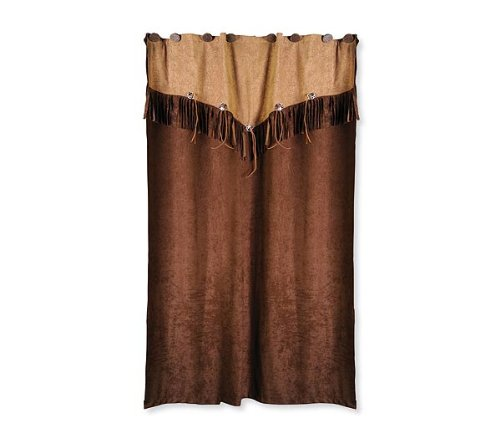 Big Sky Country Western Themed Shower Curtain Bathroom Decor Rustic Faux Leather