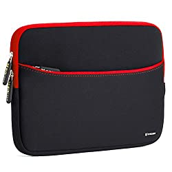 Evecase 11.6-Inch Neoprene Padded Slim Sleeve Case with Exterior Accessory Zipper Pocket for Laptop Notebook Chromebook Computer - Black with Red Trim (Acer Asus Dell HP Lenovo Samsung Toshiba