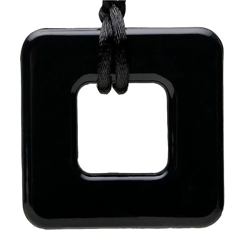 Smart Mom Teething Bling Square Pendant Necklace (Onyx) front-705693
