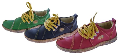 Damen Leder Schuhe Comfort Sneakers Turnschuhe Grün Schwarz Rot Ziernähte Gelb TMA Eyes