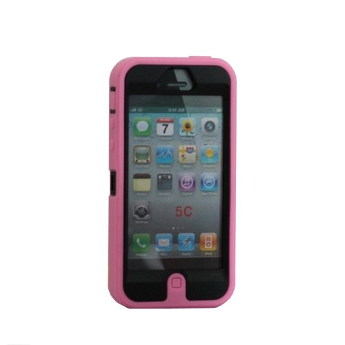 Meaci® Iphone 5C Case 3In1 Combo Hybrid Defender High Impact Body Armorbox Hard Case 1X Diamond Anti-Dust Plug Stopper-Random Color (Light Pink)