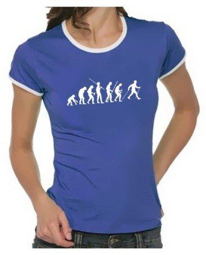 Coole-Fun-T-Shirts - T-Shirt Nordic Walking Evolution RINGER,, T-shirt da donna, blu (blau damen), Small