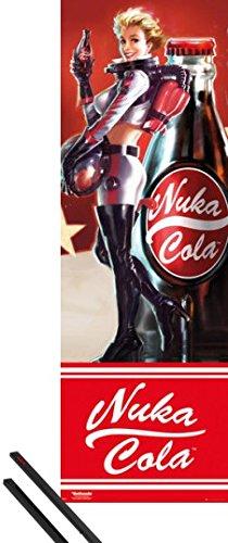 Poster + Sospensione : Fallout Door Poster (158x53 cm) 4, Nuka Cola e Coppia di barre porta poster nere 1art1®