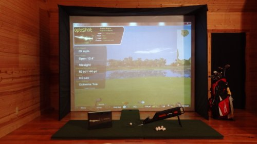PACKAGE INCLUDES:</p> <p>1 Optishot<br /> 1 Calloway Pro Caddie ball dispenser<br /> 1 Opti Ulti Mat<br /> 1 Putting Extension/Stance mat<br /> 1 Ultra Short Throw Projector<br /> 1 Universal Projector Mount<br /> 1 Impact Screen WITH ENCLOSURE<br />              - This is everything you need EXCEPT THE PIPE (EMT CONDUIT)<br />              - 1 Custom 12'x9'commercial grade impact screen<br />              - Frame fittings<br />              - Bungies<br />              - Wall Clips (to fasten frame to wall)<br />              - Pipe(emt conduit) quantity and cut lengths GUIDE for those who are providing their own pipe.</p> <p>1 BONUS Ambi Mat ($350 Value)<br /> 10 FREE Almost Golf Balls</p> <p>PIPE (EMT CONDUIT) SOLD SEPARATELY</p> <p>PADS NOT INCLUDED