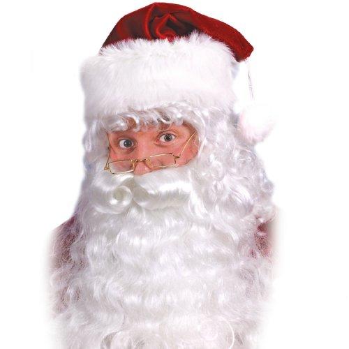 Fun World Costumes Men's Quality Santa Beard and Wig Set, White, One Size - 1
