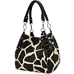 Black Large Vicky Giraffe Print Faux Leather Satchel Bag Handbag Purse