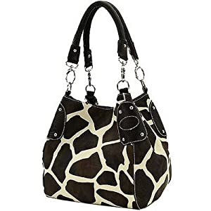 Black Large Giraffe Print Faux Leather Satchel Bag Handbag