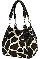 Black Large Vicky Giraffe Print Faux Leather Satchel Bag Handbag Purse