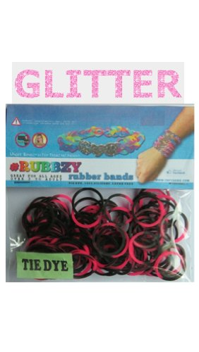 Rubbzy 100 pc Special Edition Tie Dye/Glitter Rubber Bands w/ 4 Connectors (#814) - 1