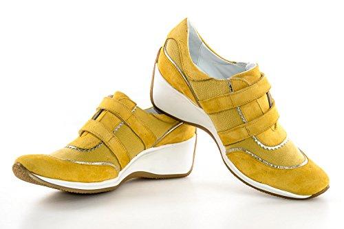 Scarpe donna FRU.IT N.40 giallo sneakers in camoscio e tessuto con zeppa X2478