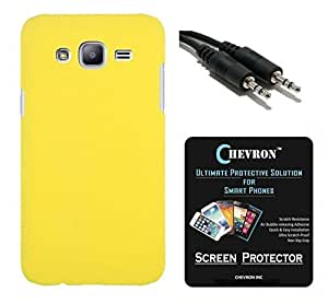 Chevron Rubberized Matte Hard Back Cover Case for Samsung Galaxy J7 with HD Screen Guard & Aux Cable (Yellow)