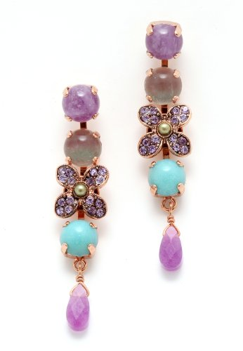 Spring Vibration' Collection Created by Amaro Jewelry Studio 24K Rose Gold Plated Awesome Earrings Adorned with Rainbow Fluorite, Labradorite, Lavender Cape Amethyst, Amethyst, Amazonite and Swarovski Crystals
